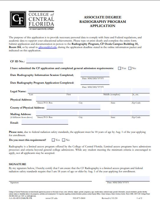Radiography Program Application